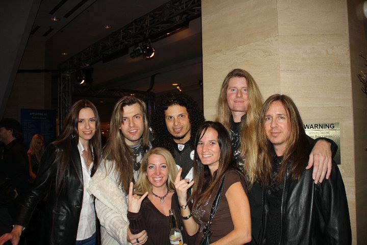 Tom McDyne - Armand Melnbardis, Jeff Scott Soto, Tom & Tracy Shell at NAMM wtih some fans